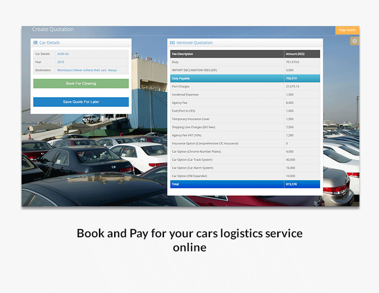 Book and Pay for your cars logistics service online