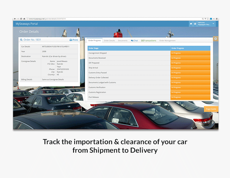 Track the importation & clearance of your car from Shipment to Delivery